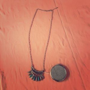 Long silver necklace with free mirror